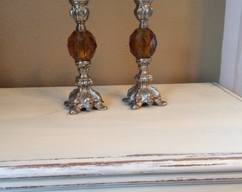Vintage pewter and amber candle sticks