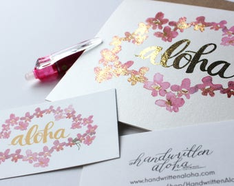 Aloha Orchid Lei Card with Gold Foil - Customizable