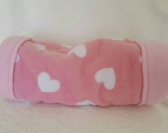 Snuggle Tunnel | Guinea Pigs, Hedgehogs etc | Pink hearts/baby pink fleece