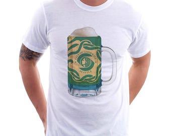 Ladies Seattle City Flag Beer Mug Tee, Home Tee, City Pride, City Flag, Beer Tee, Beer T-Shirt, Beer Thinkers, Beer Lovers Tee