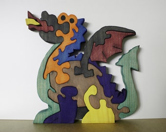 Dragon wooden puzzle launches fire