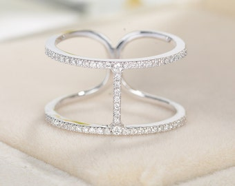 Alternative Diamond Eternity Wedding Band Unique Double white gold Trending Row Half eternity band Stacking Promise Knuckle Micro pave ring