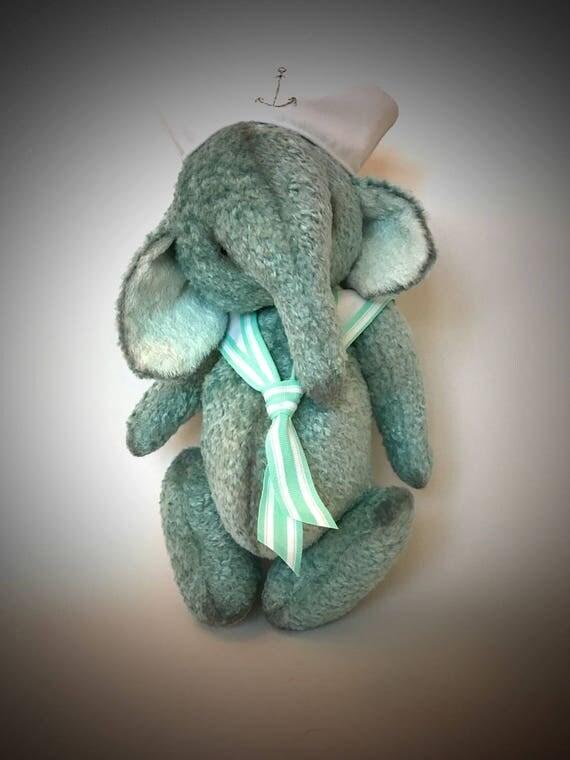 Handmade OOAK artist elephant teddy sailor  plush teal turquoise handmade nursery decor baby gift ready to ship