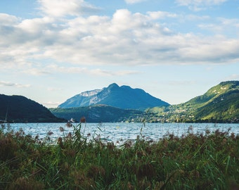 Art photography landscape mountain lake in the summer city of Annecy France