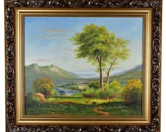 "Impressionism, Large Original Hand Painted Landscape Art, ""Serene Valley"" 25 x 30"
