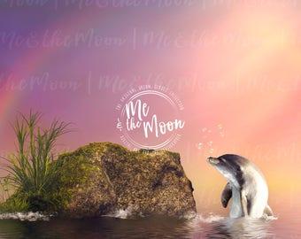 Dolphin Cove / Digital Backdrop/ Fantasy Backdrop/ Valentines Digital Background/ Digital Art