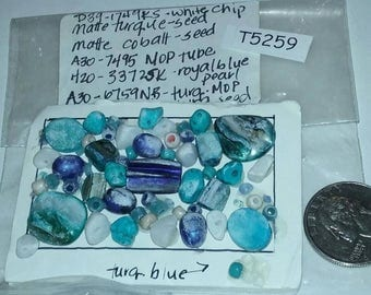 Vintage, Drilled, Gemstone, Glass, Shell, Seed,  Mixed, Lot T5259