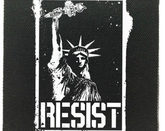 Liberty Resist Cloth Patch, Statue Of Liberty Patch, Raw Edge Patch, Political Patches, Protest Patches, Left Wing Swag, Anti-Fascist Patch