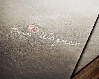 Premade Logo Design Template Womans Fashion Label Clothes Handwritten Flower Website Logo Business Card Logo Packaging Logo