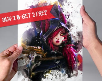 Xayah League of Legends Print Watercolor Art Print LoL Poster Game Poster Watercolor Champion Birthday Gift Idea Wall Art n191