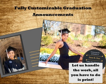 Custom Printable Graduation Announcement, Open House Invitation or Graduation Invitation Two Sided, Delivered in 24 Hours!