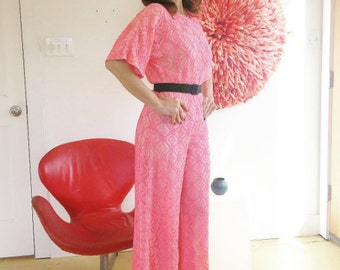 Hot Pink 70's Lace Romper