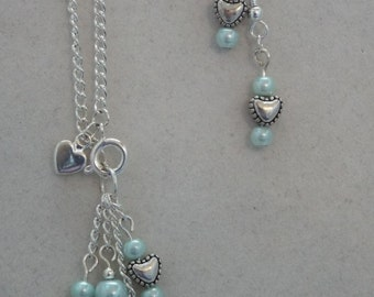 Mint Green with Heart with earrings