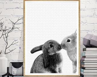 Babies Room Rabbits in love Art,Digital Download,Rabbit Cub Print, Woodlands Nursery Decor, Baby Animal Poster, Large Printable Photo Poster