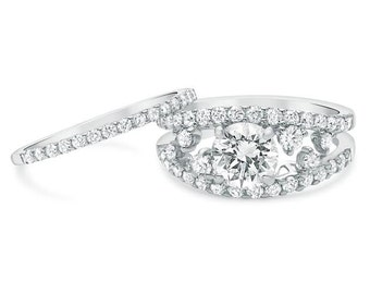Unique Vintage 2.32 Carat Round Cut Diamond Engagement Ring Set In 18k White Gold