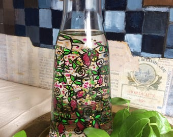 hand-painted glass decanter