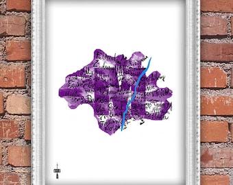 Munich - artistic city map