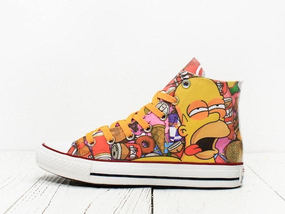 b31fe9a5e81613 Homer Simpson custom made converse shoes burger and Duff 60%OFF ...