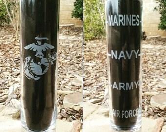 Marine Corps Shot Glass, etched shot glass, USMC shot glass, Marine Corps gift, extra tall military shot glass, Thin Green line gift, game