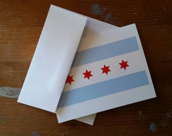 Chicago Flag Blank Note Card