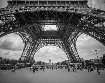Under The Eiffel Tower, Paris Black & White, France Photography, Paris Photography, Paris Photo Art, Paris Fine Art, Eiffel Tower Photo