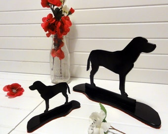 Labrador Themed Black Metal Silhouette Dog Ornament by Sityu. Non Marking 'Berry' Red Felt. A Unique Gift or Present For Labrador Lovers