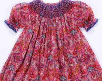 Girls Paisley smocked bishop dress
