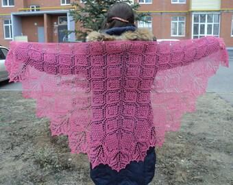 Hand knit, Pink shawl with beads, Lace shawl,100% merino wool.