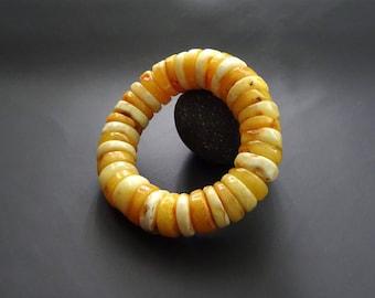 Baltic Amber Beautiful Bracelet Egg Yolk Color, amber jewelry, royal amber bracelet, luxurious amber jewelry, natural Baltic amber #ET0028