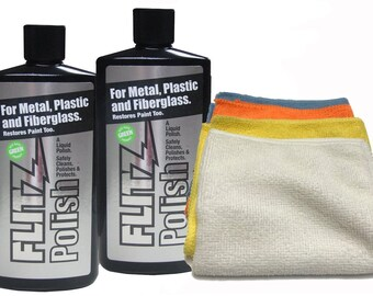 2-pack Flitz LQ 04506 Green Metal, Plastic Fiberglass Liquid Polish 16 oz Bottles with 4-pack microfiber cleaning cloth