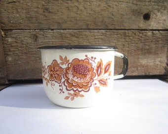White enamelware cup with flowers,Old enamel mug,Soviet enamel cup,Rustic mug,Enamelware mug,Soviet vintage cup,Cup made in USSR