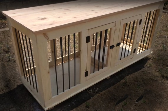 Double small handcrafted rustic dog crate by for Xl dog crate furniture
