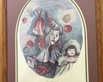 """Vintage 80's Jacquelin C Alexander watercolor hand signed/limited edition 47/250 glicee print, """"A Celebration"""" woman party, matted/framed"""