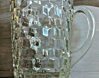 vintage Fostoria Glass Co. clear glass water pitcher