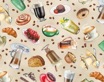 Cotton Fabric Quilting All Kinds of Coffee