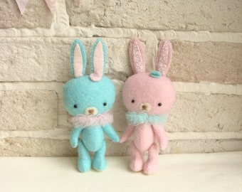 Miniature ,Bunny, Collectibles ,Soft ,Felt ,Stuffed ,Toy ,Hand Made