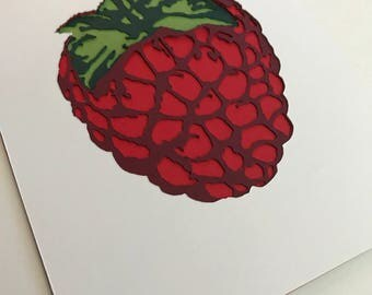 Raspberry Papercut Art Print 5x7