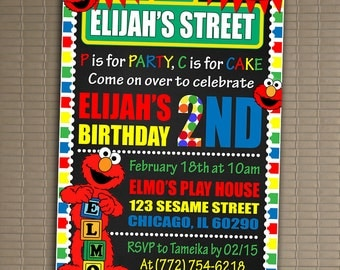 ELMO Invitation, You Print Invitation, Sesame Street Birthday Invitation, Sesame Street Invite, Elmo Birthday Invitation