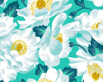 Mount Cook Lily Floral Fabric - Day by andreaalice