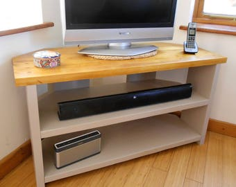 Corner TV Stand - Large Corner TV/Media Unit - Handmade and Very Sturdy, Painted in Your Choice of Colour with Natural Wood Finish Top