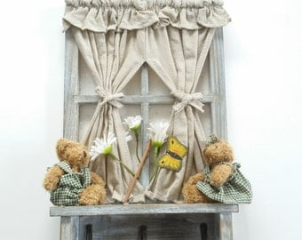 Cute Vintage Cottage Window with Bears Key Hanger Holder Wall Mounted Hanging Hook Rack Rustic Farmhouse Home Decor Teddy Bears Entryway