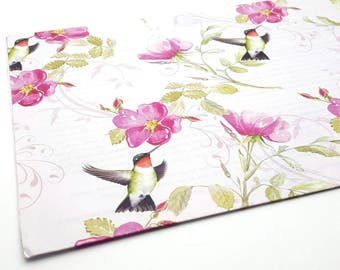 One sheet of Vintage Hummingbird and Flowers Wrapping Paper Birthday Gift Wrap Craft Supplies Scrapbook Canadian Wildlife Federation