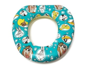 Looney Tunes Toddler Toilet Seat Add On 1995 Warner Brothers WB kids 90s Vintage Potty Training Tool