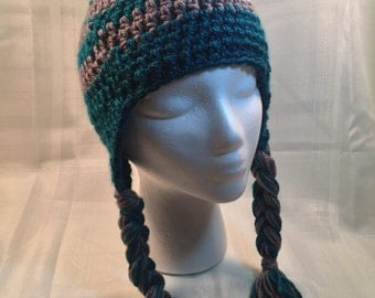 Adult blue and grey beanie