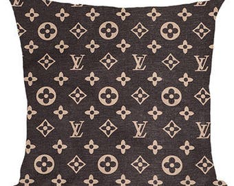 Louis Vuitton Inspired Pillow Cover Decorative Pillow Black Beige Pillow Fashion Pillow Home Decor Couture LV