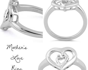 Mother's Love Sterling Silver Ring V1 -Pregnancy Loss -Baby Loss -Angel Baby -Miscarriage  -Stillborn -Remembrance -Memorial Jewelry