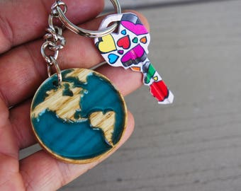 Map Key Chain, Glow in the Dark, North and South America, Natural Wood,Cute, Stylish, Present for Him, Present for Her, Unique