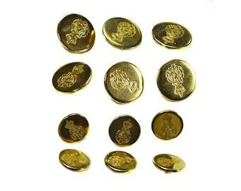 Vintage gold metal buttons black golden logo