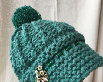 Visor hat ( Newsboy) hand knit