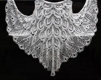 Knitted shawl, knit shawl , white shawl, knit  scarf, triangular scarf, mohair shawl, openwork scarf, downy shawl, lace shawl, wedding shawl